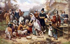 """Pilgrims and Native Americans celebrate the first Thanksgiving in 1621. This is a reproduction of an oil painting from the series """"The Pageant of a Nation."""" The painting is by artist Jean Leon Gerome Ferris and was published by The Foundation Press, Inc. of Cleveland, Ohio, c. 1932."""