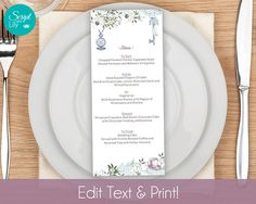 Alice Wonderland Printable Menu Template INSTANT DOWNLOAD