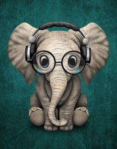 Cute Baby Elephant Dj Wearing Headphones and Glasses on Blue. This adorable baby elephant illustration, is available on many products. So Cute Baby, Cute Babies, Image Elephant, Elephant Art, Elephant Design, Elephant Stuff, Colorful Elephant, Animals And Pets, Funny Animals