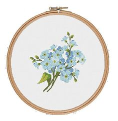 Forget-me-not flower Cross Stitch Pattern instant digital download floral cross stitch pretty wild flower cross stitch blue vintage hoop art