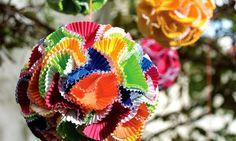 decoração festa junina pompom forminha brigadeiro