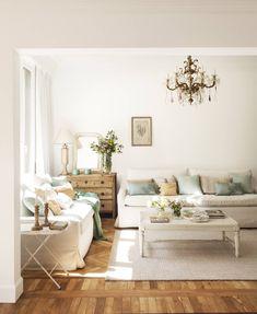 Living Room Colors Turquoise - Os ha enamorado este salón blanco likes). Home Living Room, Living Room Designs, Living Room Decor, Living Area, Living Room Turquoise, French Country Living Room, Living Room Inspiration, Family Room, Dream Homes