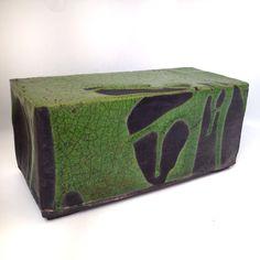 Raku ceramic box, green crome glaze, Jill E Rosenberg