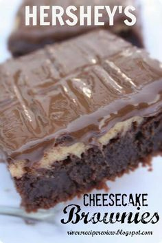 The Recipe Critic: Hershey's Cheesecake Brownies.but use GF brownie mix Yummy Treats, Sweet Treats, Yummy Food, Delicious Recipes, Chocolate Cheesecake Brownies, Fudge Brownies, Hershey Brownies, Vanilla Brownies, Hershey Bar