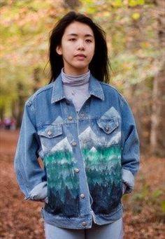 Hand Painted Forest Denim Jacket