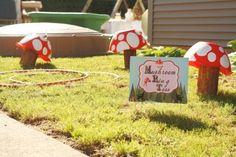 Mushroom Ring Toss using wood scraps & bowls & hula hoops from Dollar Tree.  DIY printable sign using Creative Memories Storybook Creator 4.0 software.
