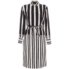 Paul Smith Women's Black And White 'Painted Stripe' Silk Shirt-Dress style=