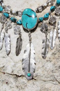 "LONE EAGLE STUDIOS ""SUNRAYS"" STERLING, CRYSTAL  TURQUOISE FEATHERS NECKLACE from Cowgirl Kim"