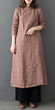 Chinese Style Vintage Loose Brushed Maxi Dresses For Women - - Chinese Style Vintage Loose Brushed Maxi Dresses For Women Loose Dress Models A woven shirt dress featuring a round neckline! Abaya Fashion, Modest Fashion, Fashion Clothes, Fashion Dresses, Linen Dresses, Women's Dresses, Vintage Dresses, Casual Dresses, Casual Wear