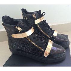 Giuseppe Zanotti Ssense Exclusive Black & Gold Patent Crocodile London High-Top Sneakers