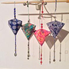 Origami beaded lanterns 'Handmade by Liz' based on instructions for German Bell.