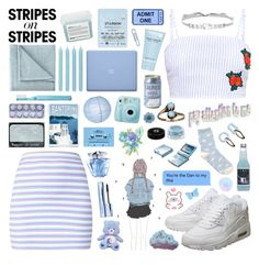 """""""pattern challenge / stripes on stripes"""" by soft-bites ❤ liked on Polyvore featuring Davines, Starskin, Marc Jacobs, JCPenney Home, Pier 1 Imports, Jenny Packham, NIKE, NARS Cosmetics, Fujifilm and CASSETTE"""