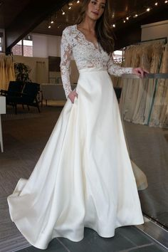 Cheap V-neck Lace Long Sleeves Satin Wedding Dress With Pocket V-neck Wedding Dresses, Wedding Dresses Cheap, Wedding Dress, Wedding Dresses Lace, Long Sleeves Wedding Dresses Wedding Dresses 2018 Wedding Dress With Pockets, V Neck Wedding Dress, Prom Dresses Long With Sleeves, Long Sleeve Wedding, Perfect Wedding Dress, Wedding Skirt, Sleeve Wedding Dresses, Simple Elegant Wedding Dress, Long Dresses