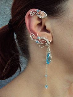 Pair of wire wrapped ear cuffs Mermaid's by StrangeThingJewelry