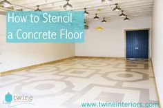 www.twineinteriors.com  How to paint concrete floor, geometric stencil floor, bold floor pattern