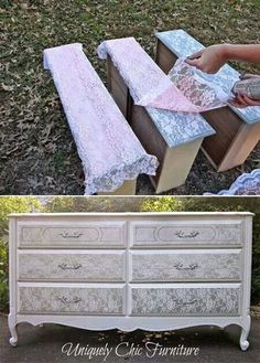 Lace and spray paint