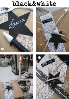 Ich verpacke auch in diesem Jahr die Weihnachtsgeschenke in braunem Papier.   Dann pimpe ich sie mit weißen und schwarzen Elementen auf...