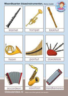 Woordkaarten voor kleuters blaasinstrumenten, thema muziek, kleuteridee, free printable.