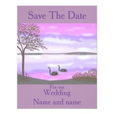 Sunset Wedding Save the Date Cards Save The Date, sunset lake swans, Wedding cards. Card