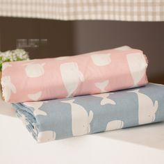 240CMX100CM New Pink& Blue Whale Printed Cartoon Cotton Fabric DIY Patchwork Sewing Baby Clothing Bedding Cloth Handmade Dolls