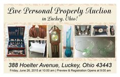 Live Absolute Auction in Luckey, Ohio! Friday, June 26, 2015 at 10:00 am Preview Opens at 9:00 am 338 Hoelter Avenue, Luckey, Ohio 43443  View More Information at www.pamelaroseauction.com or call at (419) 865-1224  Pamela Rose Auction Co. LLC #PamelaRoseAuction