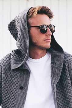Open knitted winter hoodie with white high neck shirt