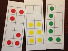 Math Coach's Corner: Using Dot Cards to Build Number Sense...Make Random designs with diff color for stickers & some using 10 frames..on rings
