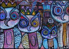 owl family by Sandra Silberzweig