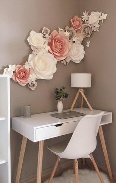 Paper Flower Decor, Large Paper Flowers, Flower Wall Decor, Flower Decorations, Paper Flowers On Wall, Paper Flowers Wall Decor, Room Decoration With Flowers, Wall Decorations, Flower Wall Design