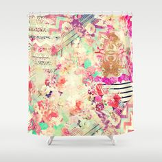 Flowers+Mix+Vintage+Patchwork+Shower+Curtain+by+Girly+Trend+-+$68.00