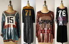 """Geoffrey Beene's iconic sequined  """"football"""" jersey cocktail dresses and evening gowns from 1967"""
