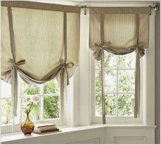 Find more ideas: Shabby Chic kitchen curtains Vintage kitchen curtains Country kitchen curtains Kitchen curtains with blinds Long rustic kitchen curtains # kitchen design # kitchen kitchens # window treatments. Tie Up Curtains, Small Window Curtains, Damask Curtains, Nursery Curtains, Curtains With Blinds, Bathroom Curtains, Neutral Curtains, Blinds Diy, Window Blinds
