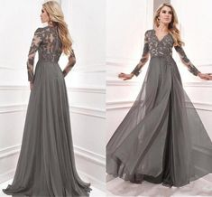 Gray Lace Beads Mother of the Bride Dress V Neck Long Sleeve Chiffon Gown Custom#Mother#Bride#Dress