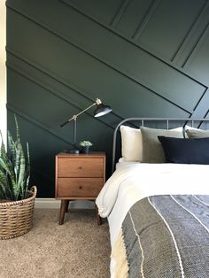 Get inspired by Modern Bedroom Design photo by Wayfair lets you find the designer products in the photo and get ideas from thousands of other Modern Bedroom Design photos. Forest Green Bedrooms, Green Bedroom Walls, Green Accent Walls, Accent Wall Bedroom, Green Rooms, Bedroom Carpet, Home Bedroom, Modern Bedroom, Bedroom Decor