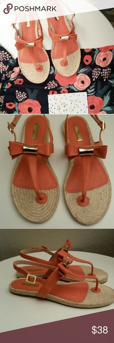 NWOT Coral Espadrille Bow Strap Buckle Sandals NEW Cute coral Louise et Cie Sandals in Woman's size 8 Louise et Cie Shoes Espadrilles