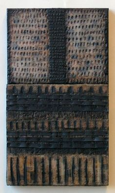 """Nancy Natale    Iconic Book: Tale of Shadows  2009  Encaustic with recycled rubber, tacks,  oilstick, oilpaint on two joined birch  panels  21""""H x 12""""W x 1.75""""D  http://www.nancynatale.net"""