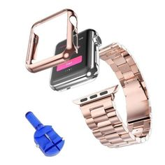Stainless Steel Watchband Strap+Plated Case Cover+Adapter For Apple Watch 38/42
