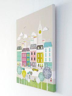 London - Large Textiles Canvas print. €135.00, via Etsy.