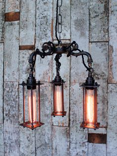 Industrial 3 arm pendant with lamp cages