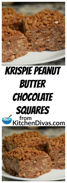 If you love chocolate, peanut butter and Rice Krispies you will love Krispie Peanut Butter Chocolate Squares! They are totally delicious! #Chocolate #dessert #ricekrispie #recipe #food #foodidea