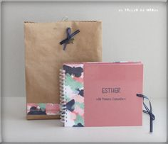 Libro de firmas para la Priemera Comunión de Esther con bolsa de regalo a juego