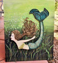 Mermaid Wall Art- Beach Decor- Coastal Collage- Green Mixed Media- Mermaid Painting- 16X20 inches. This artwork is depicting a mermaid in a joyous