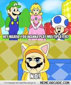 Super Mario World looks good, but the cat suit looks silly. This is Mario as Grumpy Cat. Funny Gaming Memes, Funny Games, Mario Video Game, Grumpy Cat Meme, Video Game Memes, Video Games, Super Mario 3d, Know Your Meme, Indie Games
