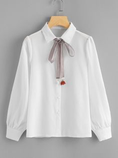 Shop Single Breasted Tie Neck Shirt at ROMWE, discover more fashion styles online. Kawaii Fashion, Cute Fashion, Look Fashion, Hijab Fashion, Teen Fashion, Korean Fashion, Fashion Dresses, Fashion Design, Classy Outfits