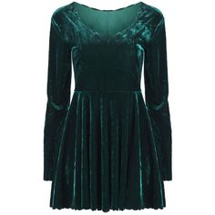Lace Collar Green Dress (2.520 RUB) found on Polyvore featuring women's fashion, dresses, vestidos, short dresses, blue dress, blue long sleeve dress, long-sleeve velvet dress, mini dress and green dress