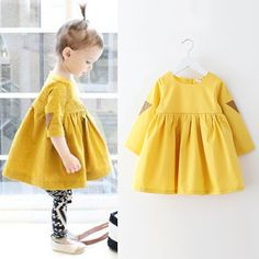 2T 8T children clothing dress baby girls dress flare sleeve girl ...