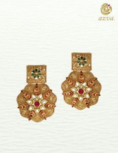 Azva handcrafted gold floral earrings. #Goldjewellery #luxury #style