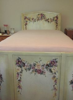 Antique Cottage Chic Bed - OOAK Antique Iron Bed Painted by Chris Stokes tt Home Decor Lay Away Available. $4,900.00, via Etsy.