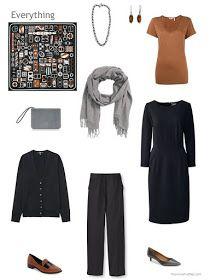 4 piece wardrobe in black, brown and grey