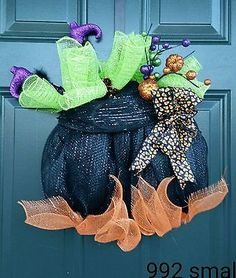 Deco mesh wreath Halloween witch in cauldron feet purple black orange green #992